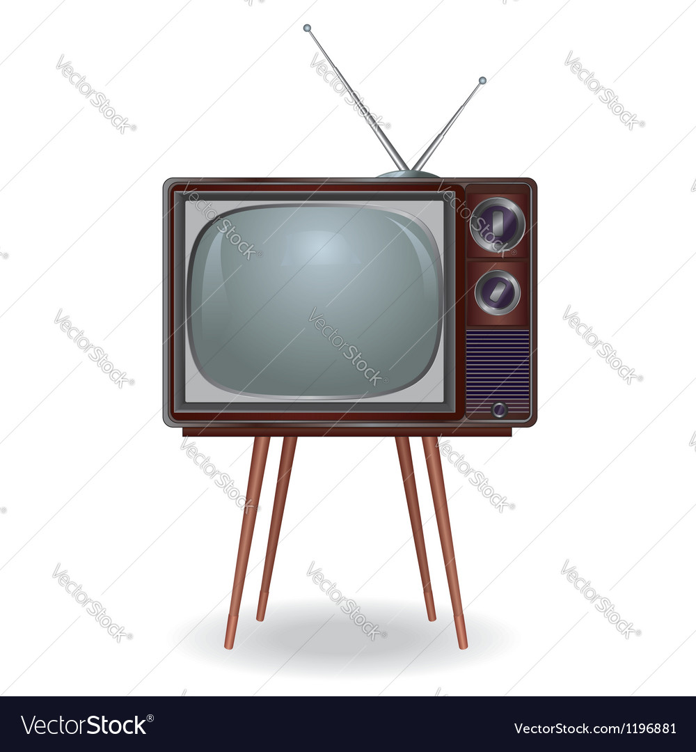 Realistic vintage tv isolated on white background vector | Price: 3 Credit (USD $3)