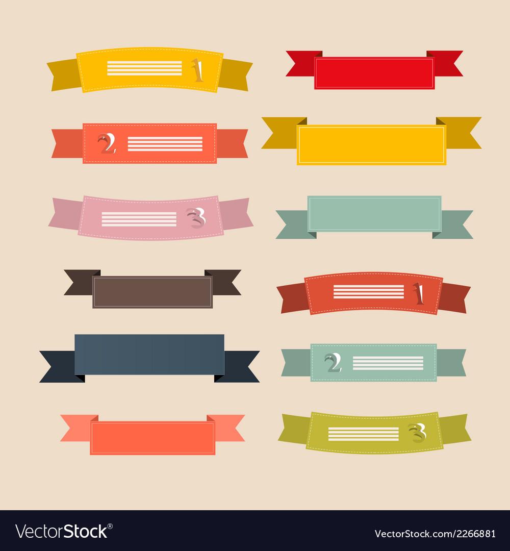 Retro ribbons labels tags set vector | Price: 1 Credit (USD $1)