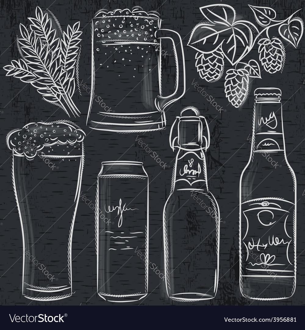 Set of beer bottle on blackboard vector | Price: 1 Credit (USD $1)