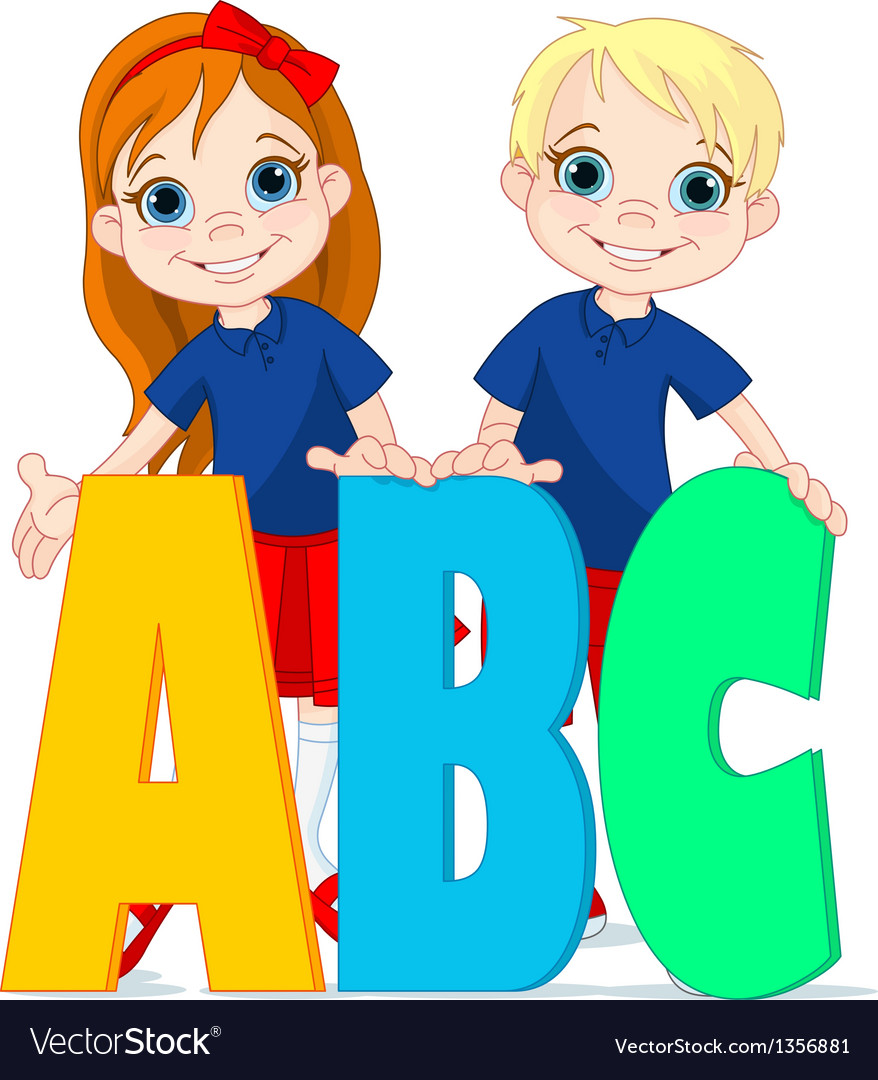Two kids and letters vector | Price: 3 Credit (USD $3)