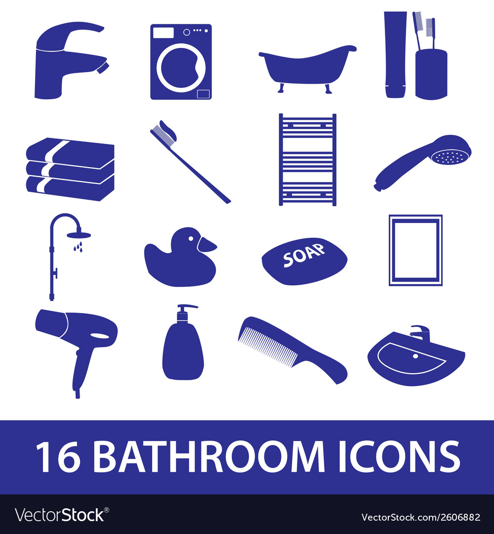 Bathroom icons set eps10 vector | Price: 1 Credit (USD $1)