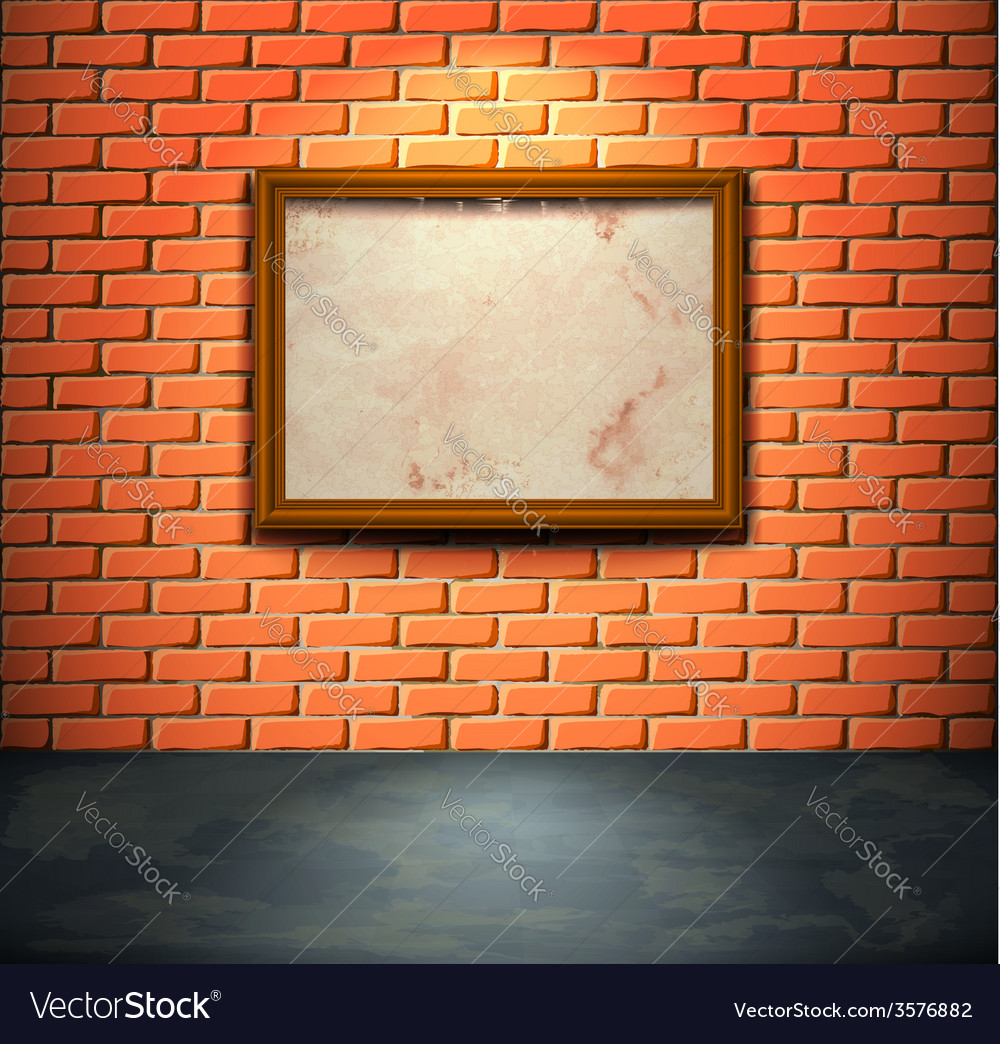 Brick wall with frame vector | Price: 1 Credit (USD $1)