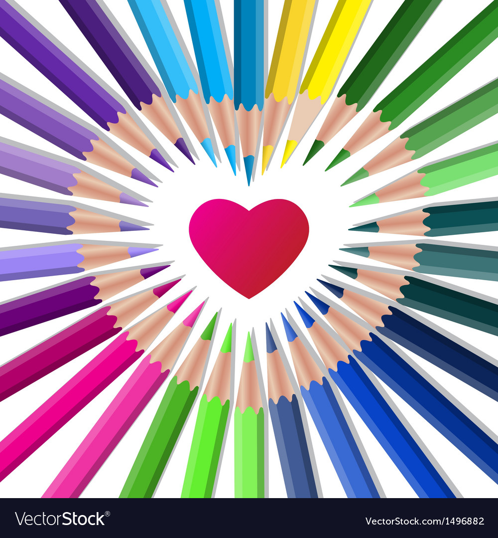 Color crayons with red heart vector | Price: 1 Credit (USD $1)
