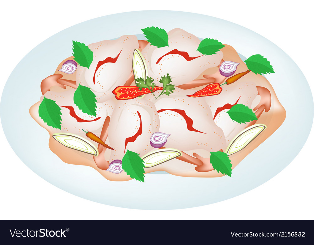 Delicious thai shrimp salad on a plate vector | Price: 1 Credit (USD $1)