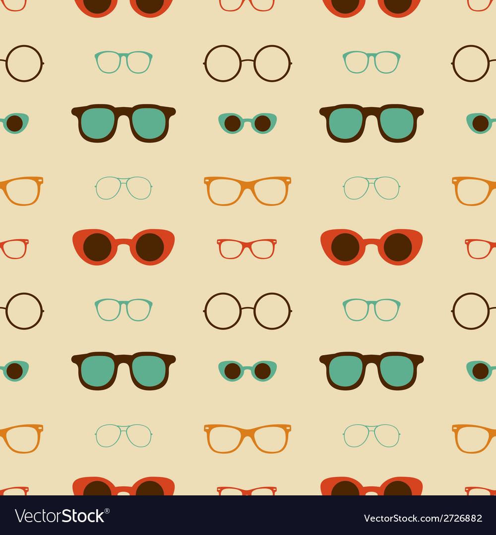 Hipster glasses seamless pattern vector | Price: 1 Credit (USD $1)