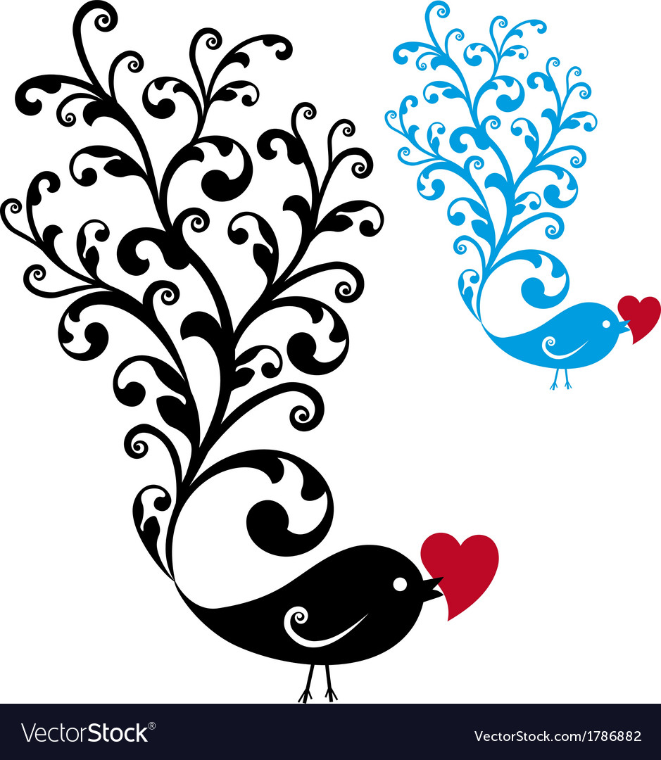 Ornamental bird with red heart vector | Price: 1 Credit (USD $1)