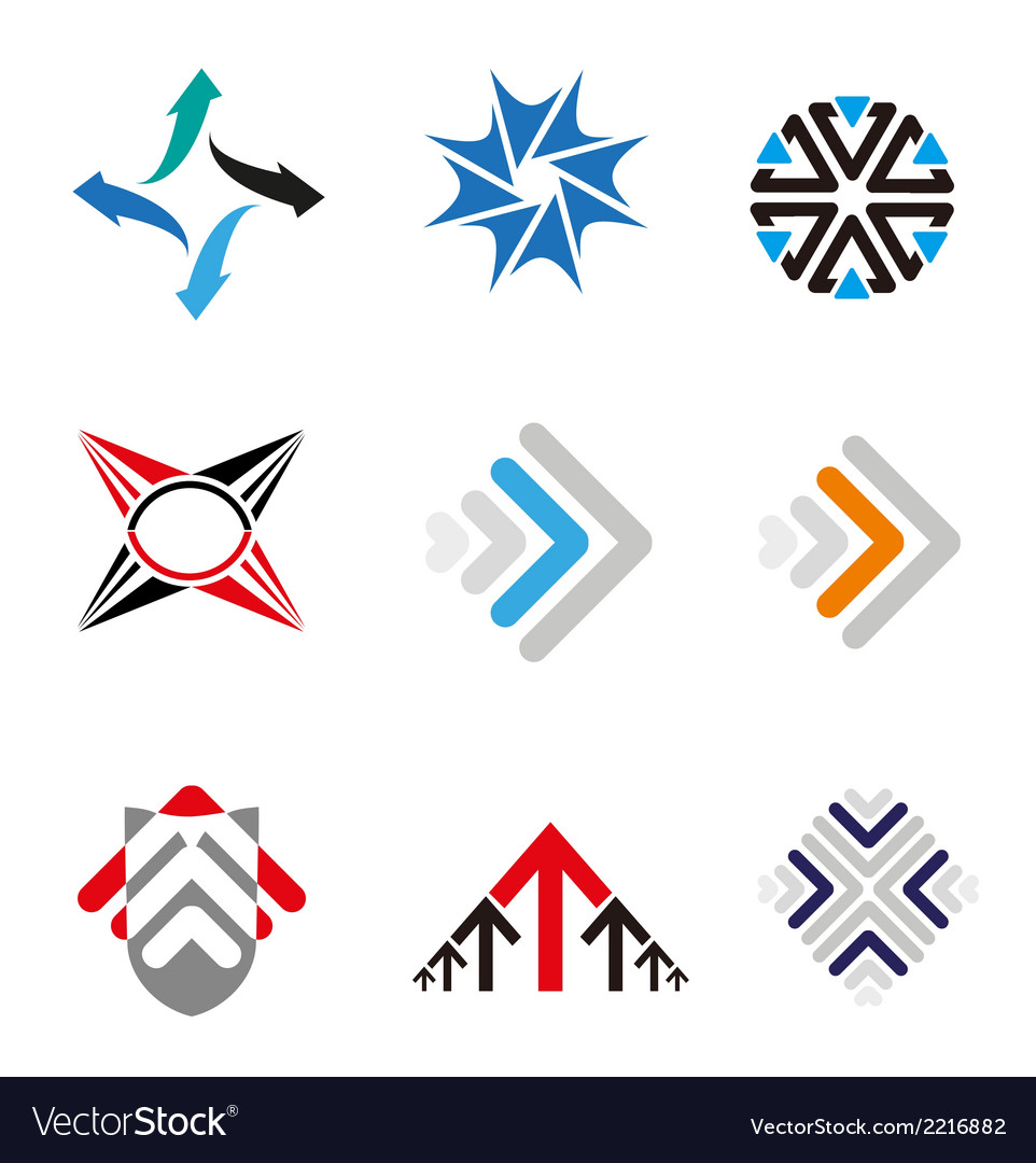 Set of 9 arrow logo element vector | Price: 1 Credit (USD $1)