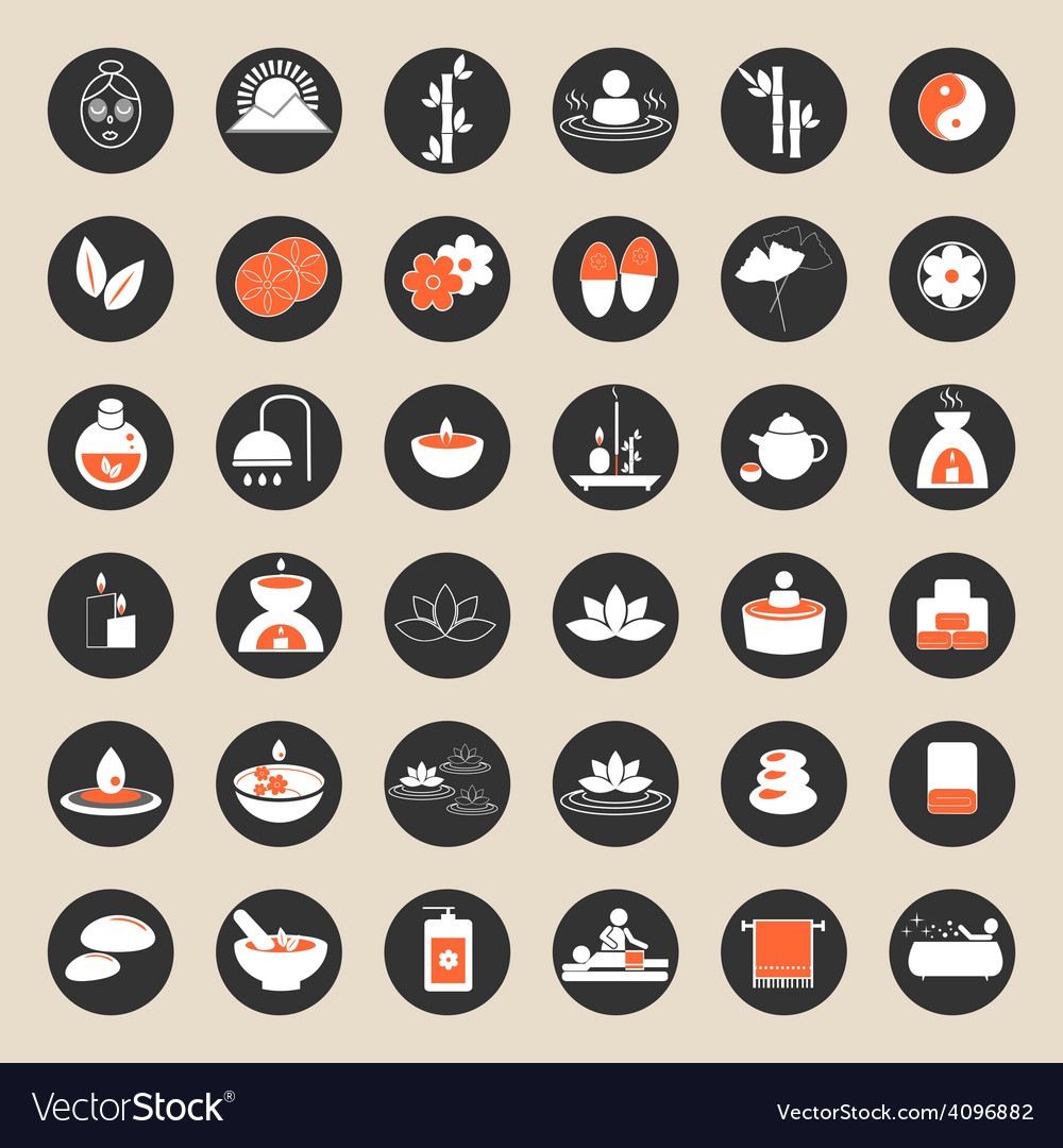 Set of spa and massage icons vector | Price: 1 Credit (USD $1)