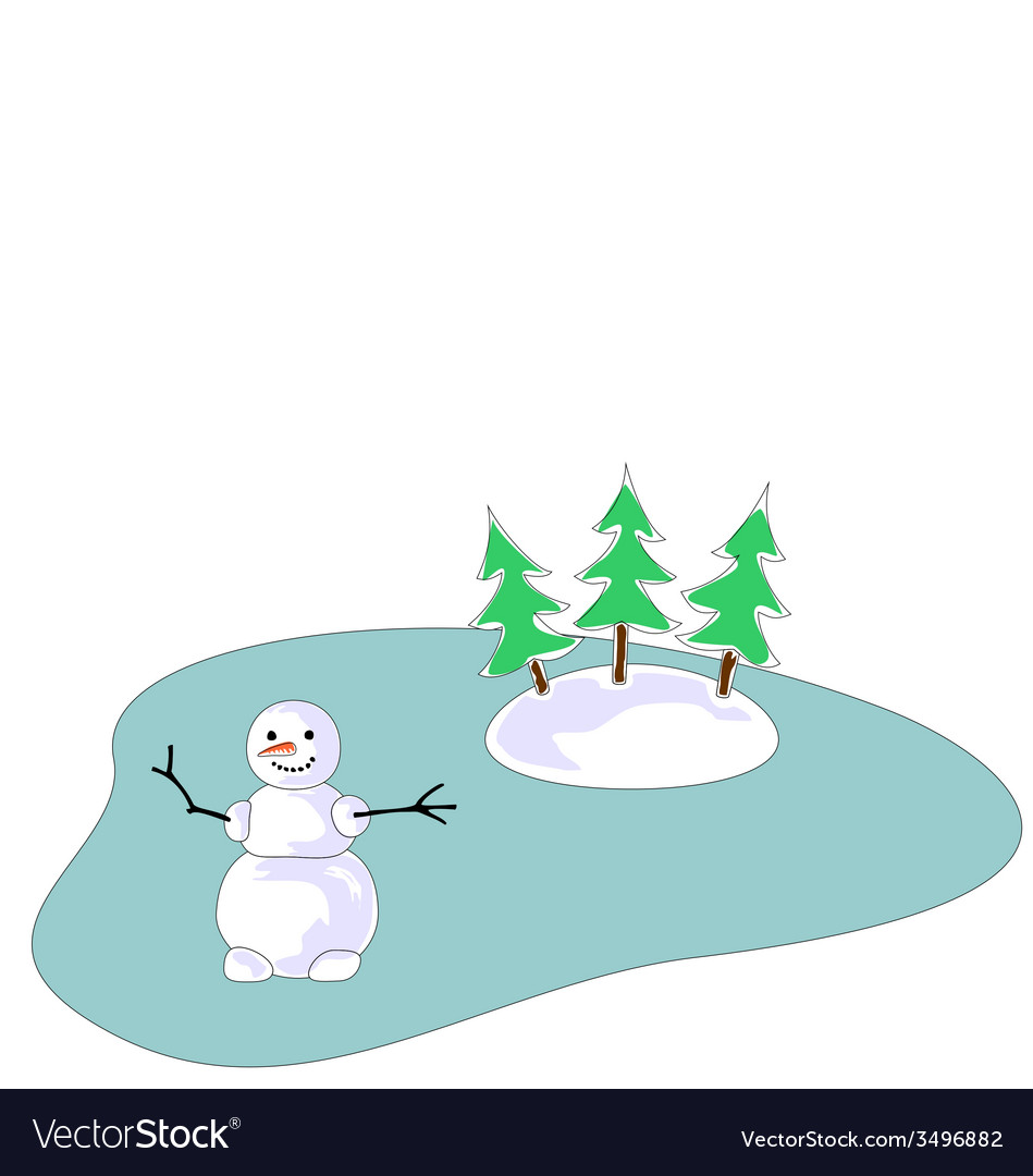 Snowman on frozen lake vector | Price: 1 Credit (USD $1)