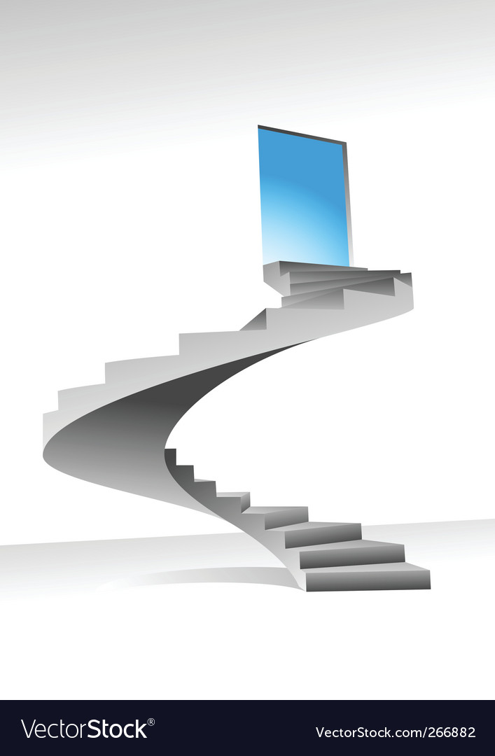 Stairs and shine door vector