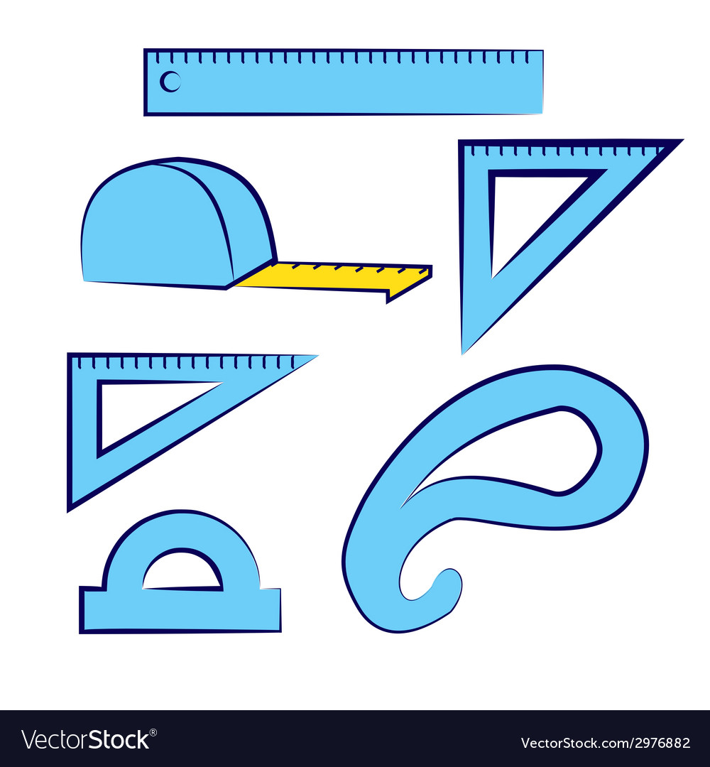 Stationery  set lines patterns measuring tools vector
