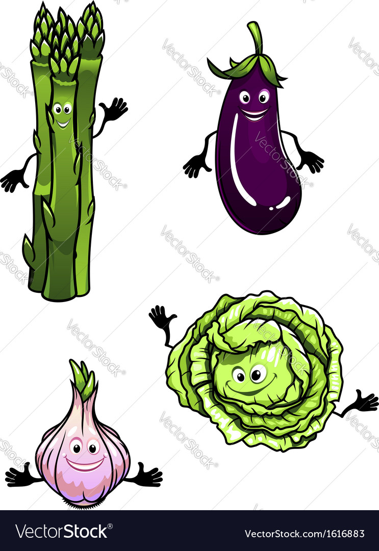 Cabbage spinach eggplant and garlic vector | Price: 1 Credit (USD $1)