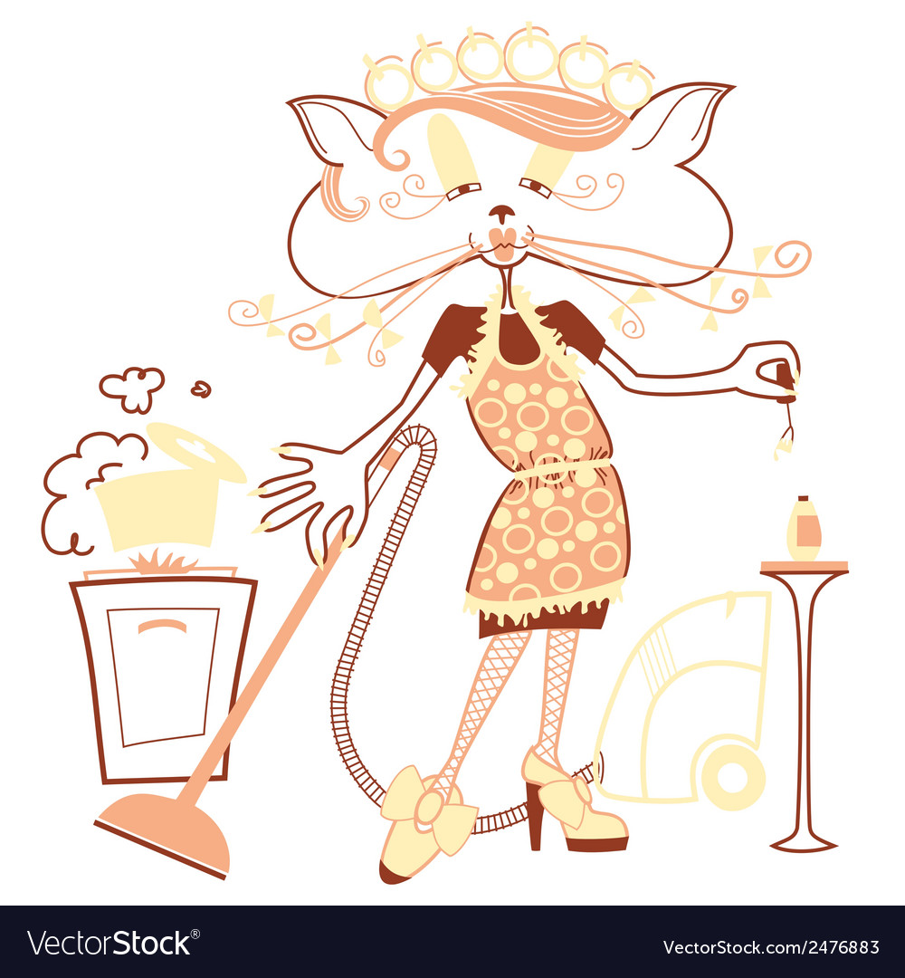 Cat housewife vector | Price: 1 Credit (USD $1)