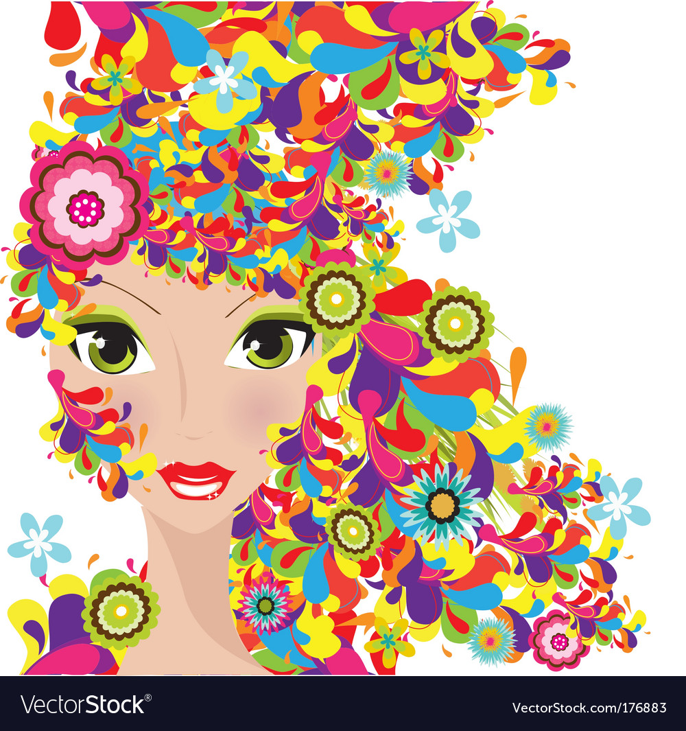 Colorful hair women vector | Price: 1 Credit (USD $1)