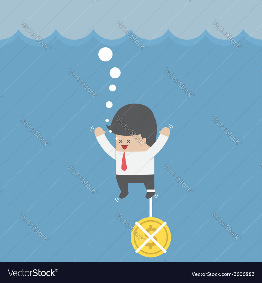 Drowning businessman with dollar coin chain on his vector | Price: 1 Credit (USD $1)