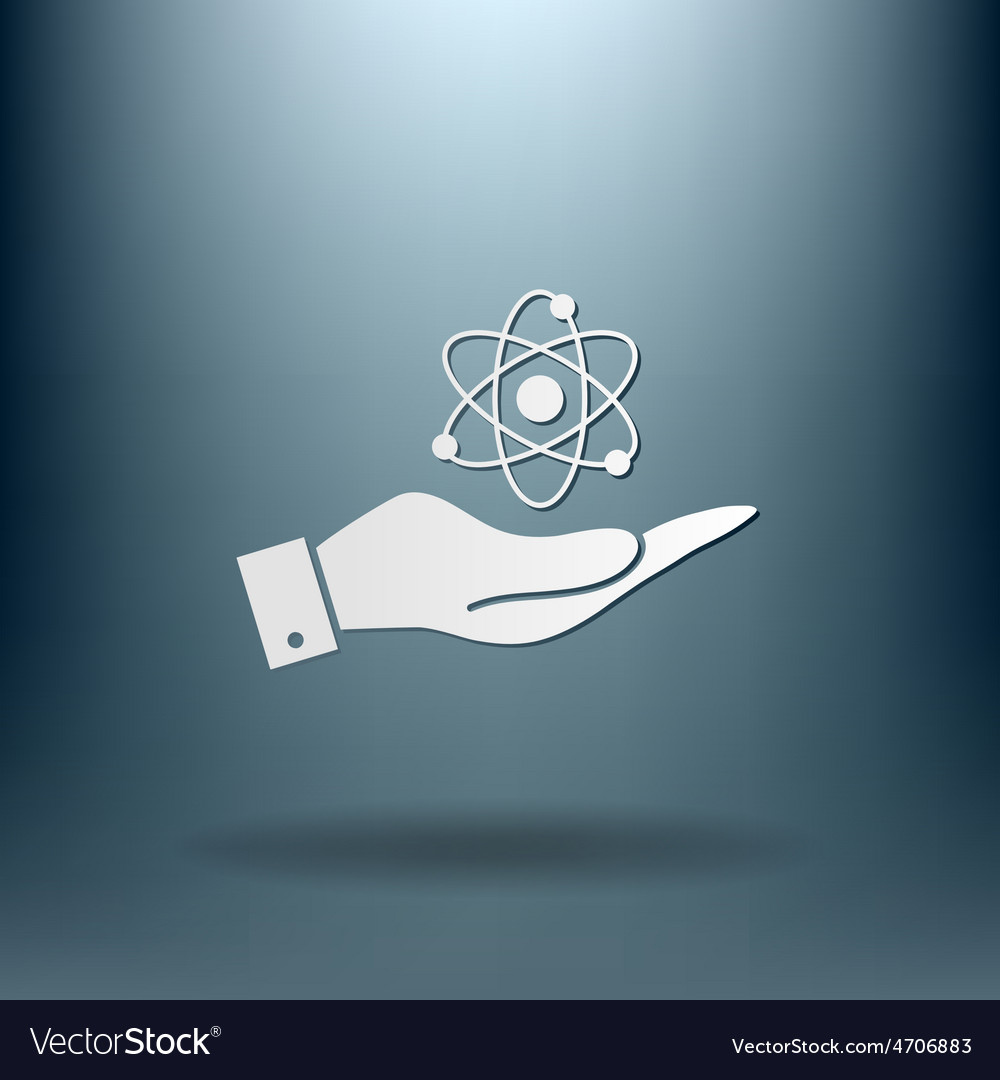 Hand holding the atom molecule vector | Price: 1 Credit (USD $1)