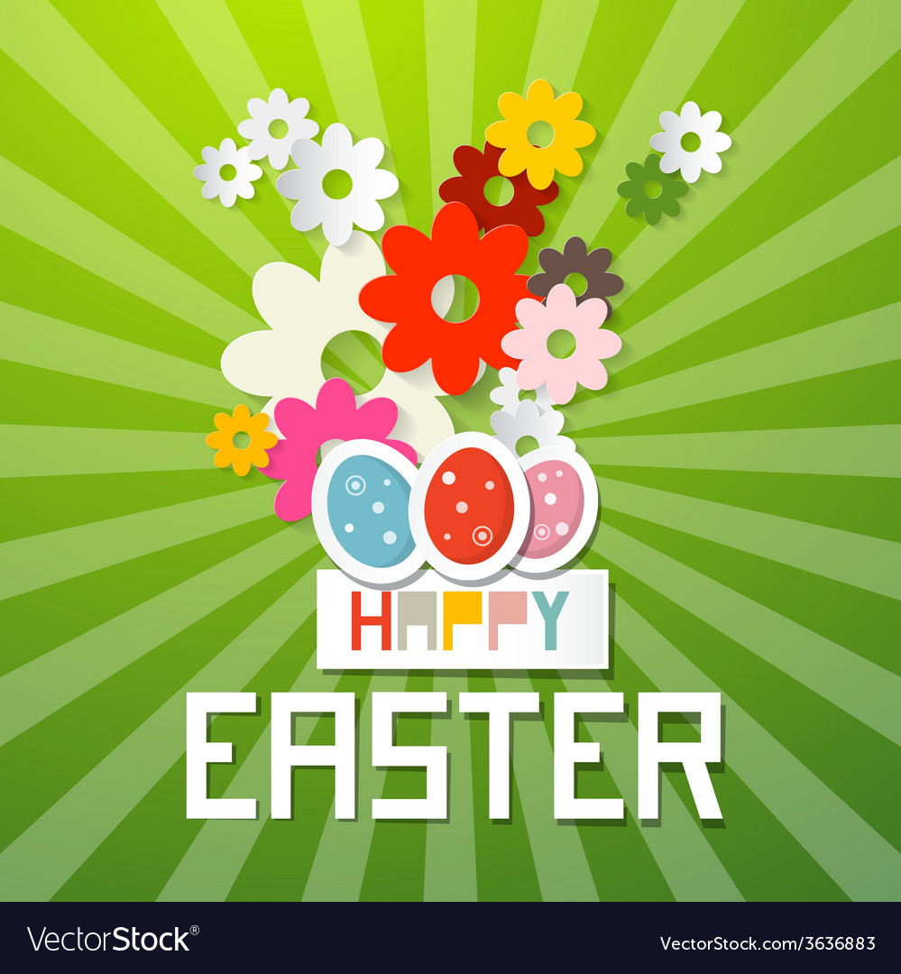 Happy easter with paper cut flowers and eggs vector | Price: 1 Credit (USD $1)