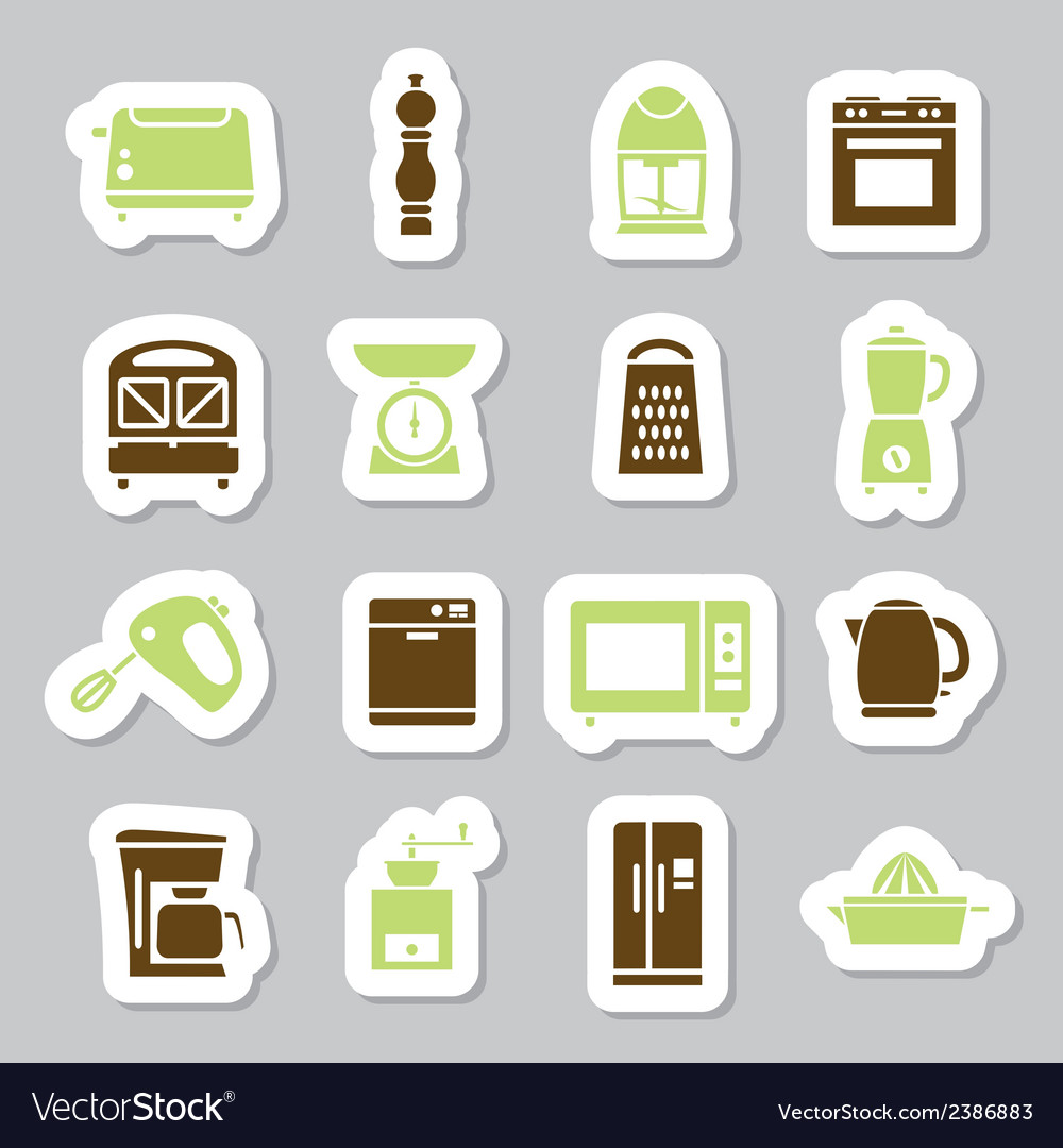 Kitchen appliances and tools stickers vector | Price: 1 Credit (USD $1)