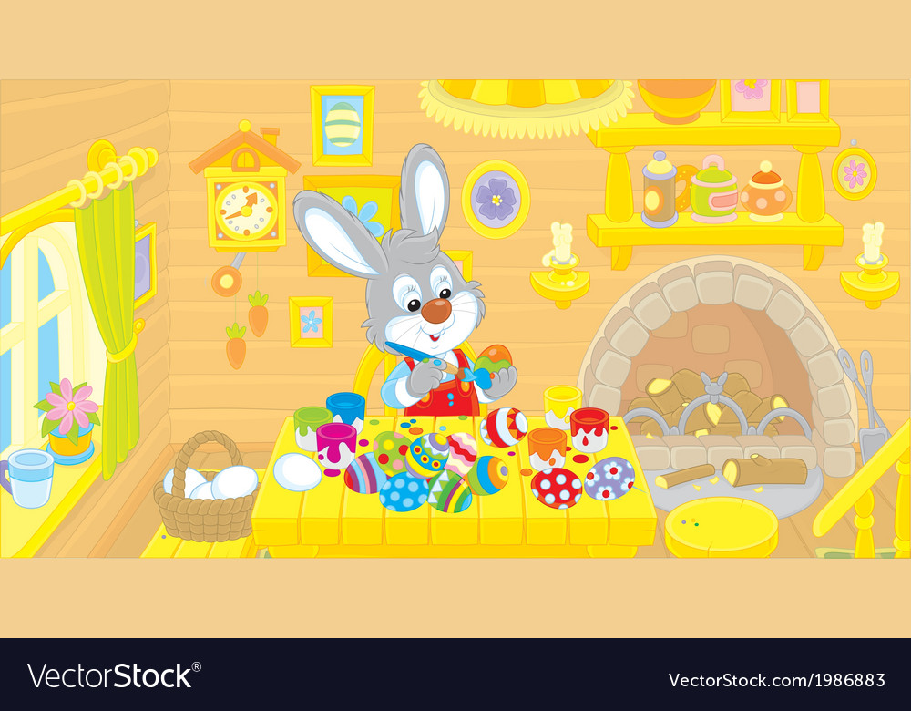 Little bunny paints easter eggs vector | Price: 1 Credit (USD $1)