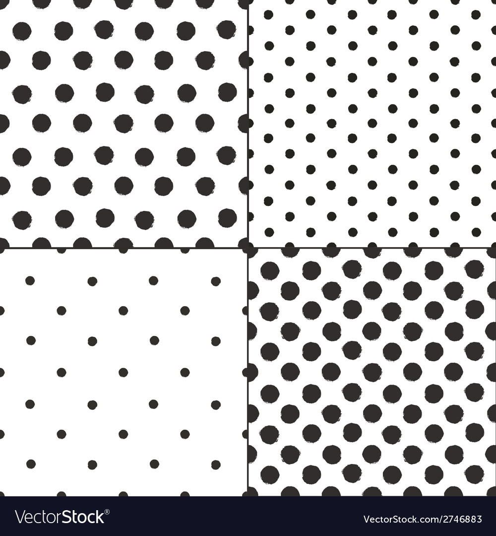 Polka dot black and white painted seamless vector | Price: 1 Credit (USD $1)