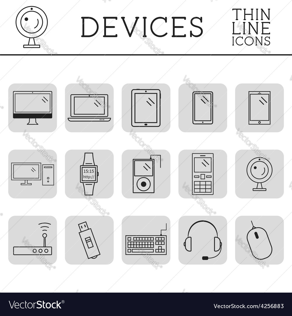 Trendy pc computer mobile gadgets and device vector | Price: 1 Credit (USD $1)