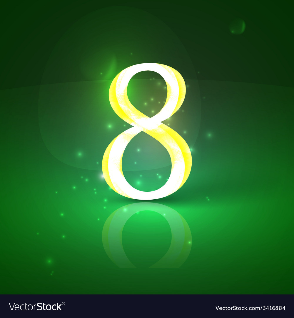 8 green glowing number eight vector | Price: 1 Credit (USD $1)