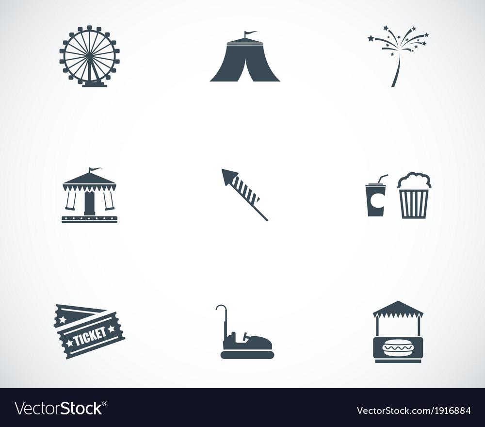 Black carnival icons set vector | Price: 1 Credit (USD $1)
