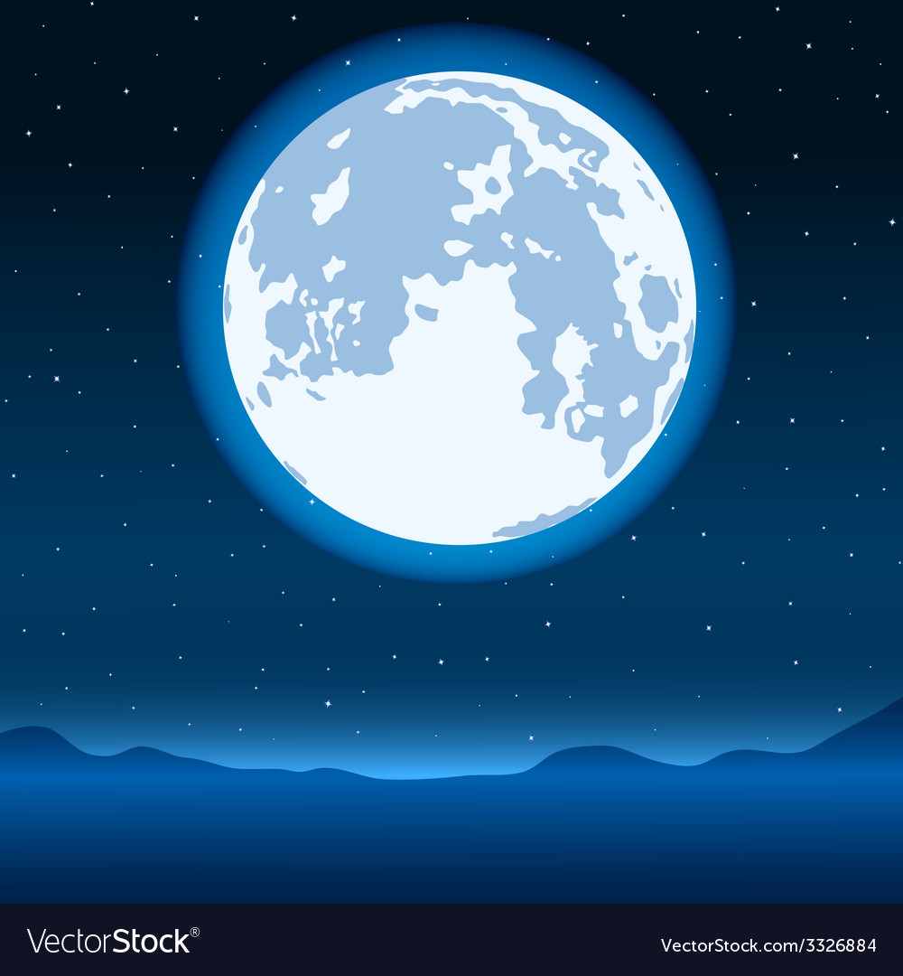 Blue full moon vector | Price: 1 Credit (USD $1)