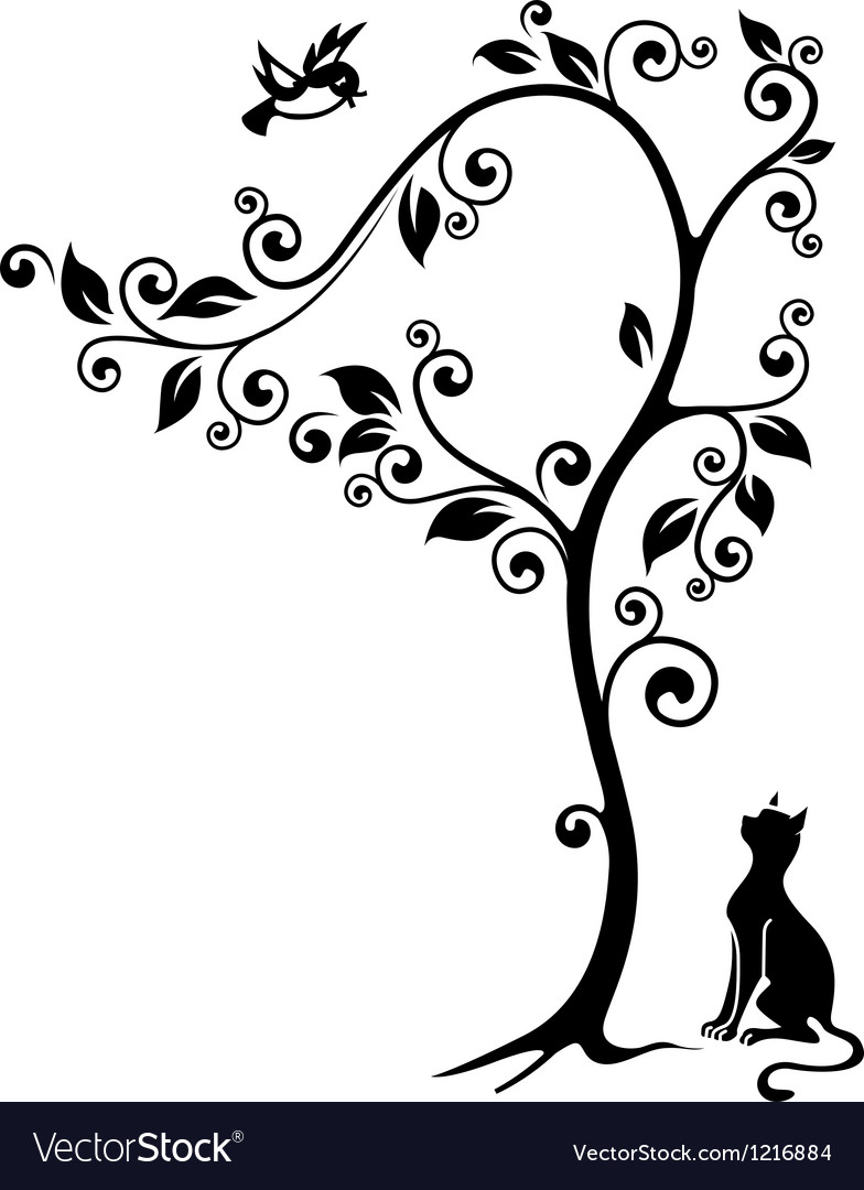 Cat under a tree vector | Price: 1 Credit (USD $1)