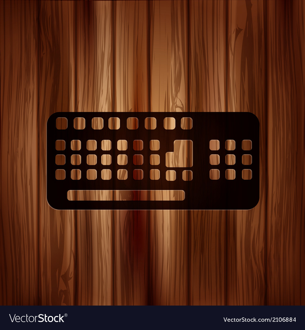 Computer keyboard web icon wooden texture vector | Price: 1 Credit (USD $1)