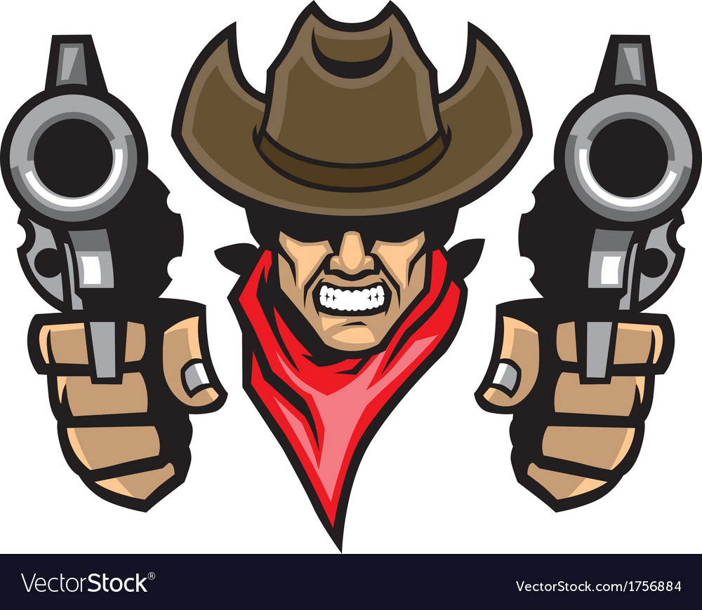 Cowboy mascot aiming the guns vector | Price: 1 Credit (USD $1)