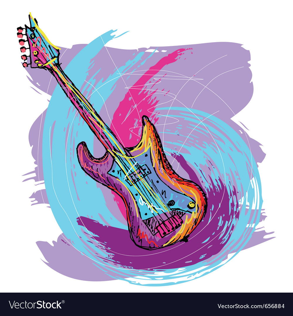 Electric guitar background vector | Price: 1 Credit (USD $1)