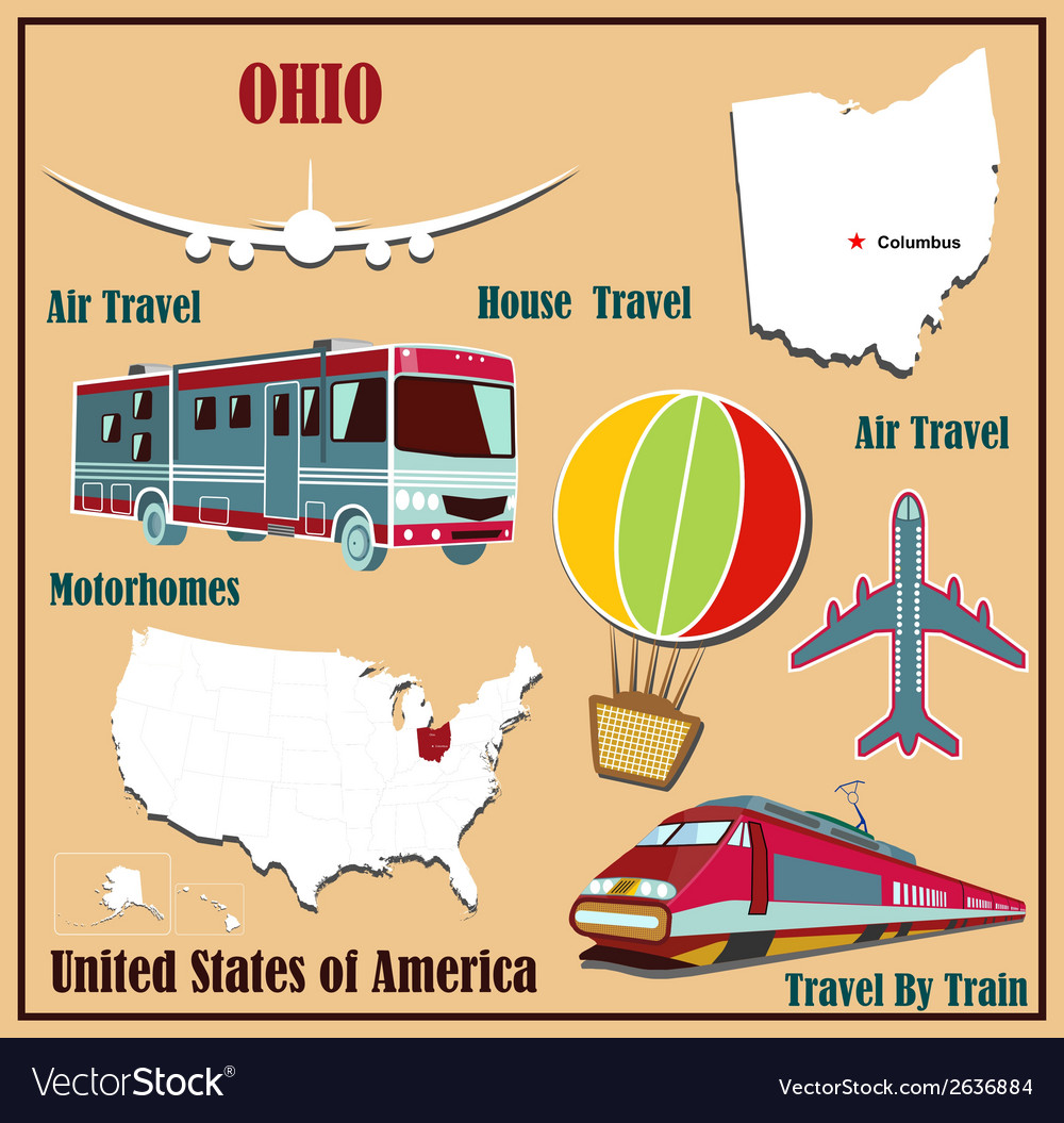 Flat map of ohio vector | Price: 1 Credit (USD $1)