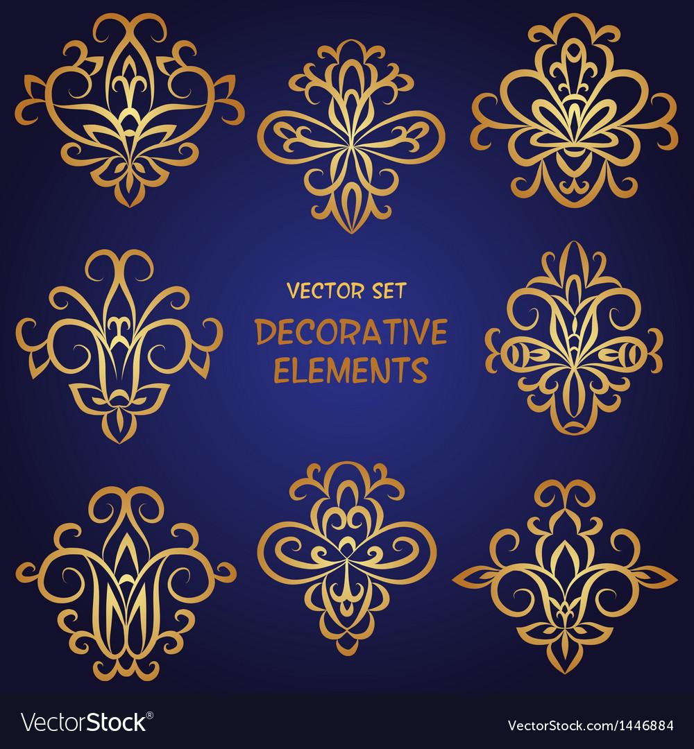 Golden decorative ethnic elements set vector | Price: 1 Credit (USD $1)