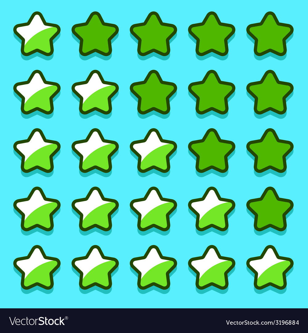 Green game rating stars icons buttons vector | Price: 1 Credit (USD $1)