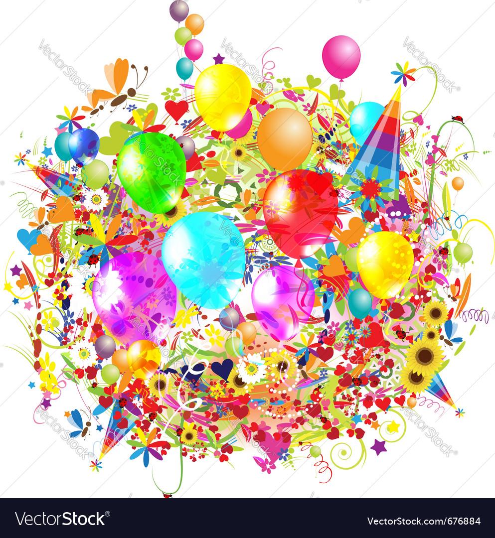 Happy birthday balloons vector | Price: 1 Credit (USD $1)