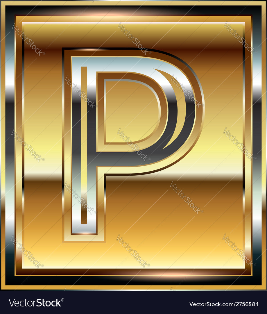 Ingot font letter p vector | Price: 1 Credit (USD $1)