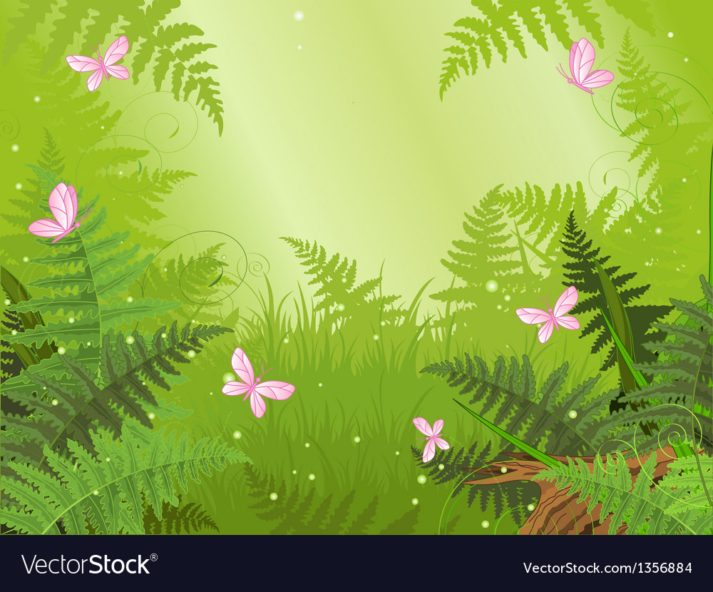 Magic forest landscape vector | Price: 1 Credit (USD $1)