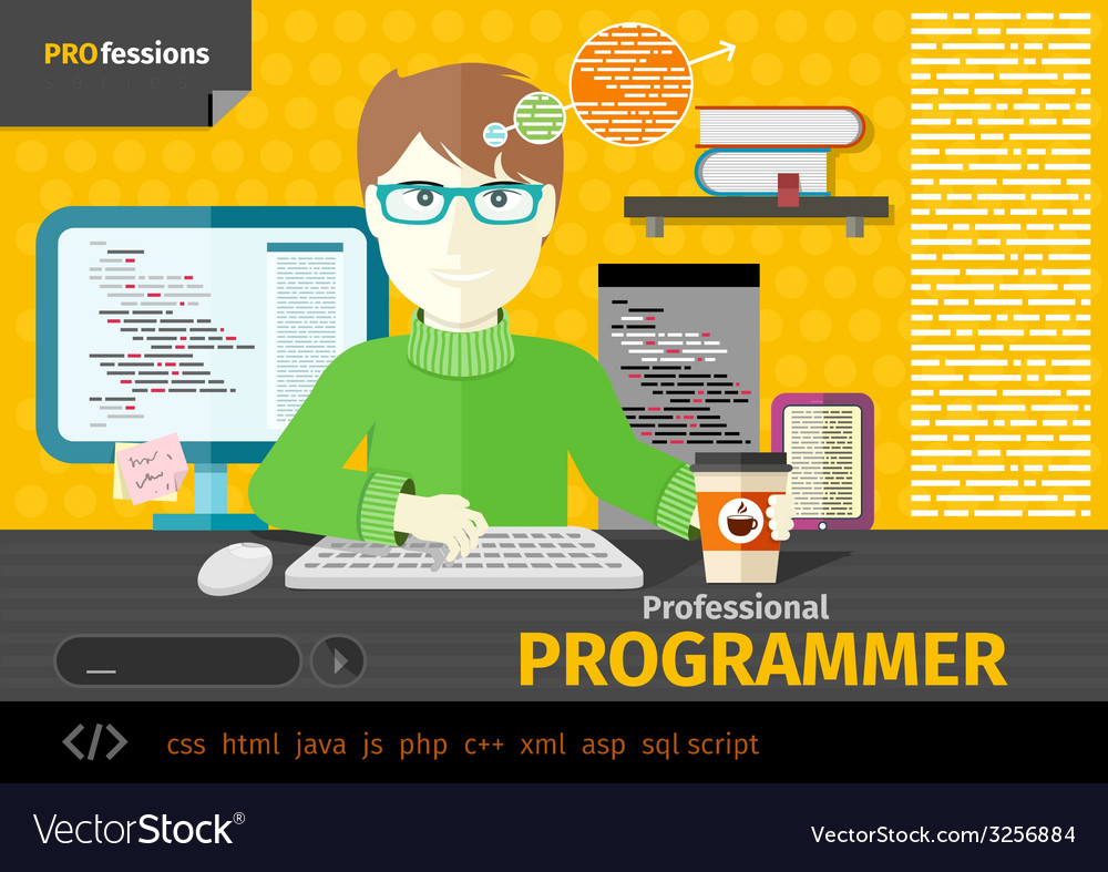 Male programmer with digital devices on workplace vector | Price: 1 Credit (USD $1)