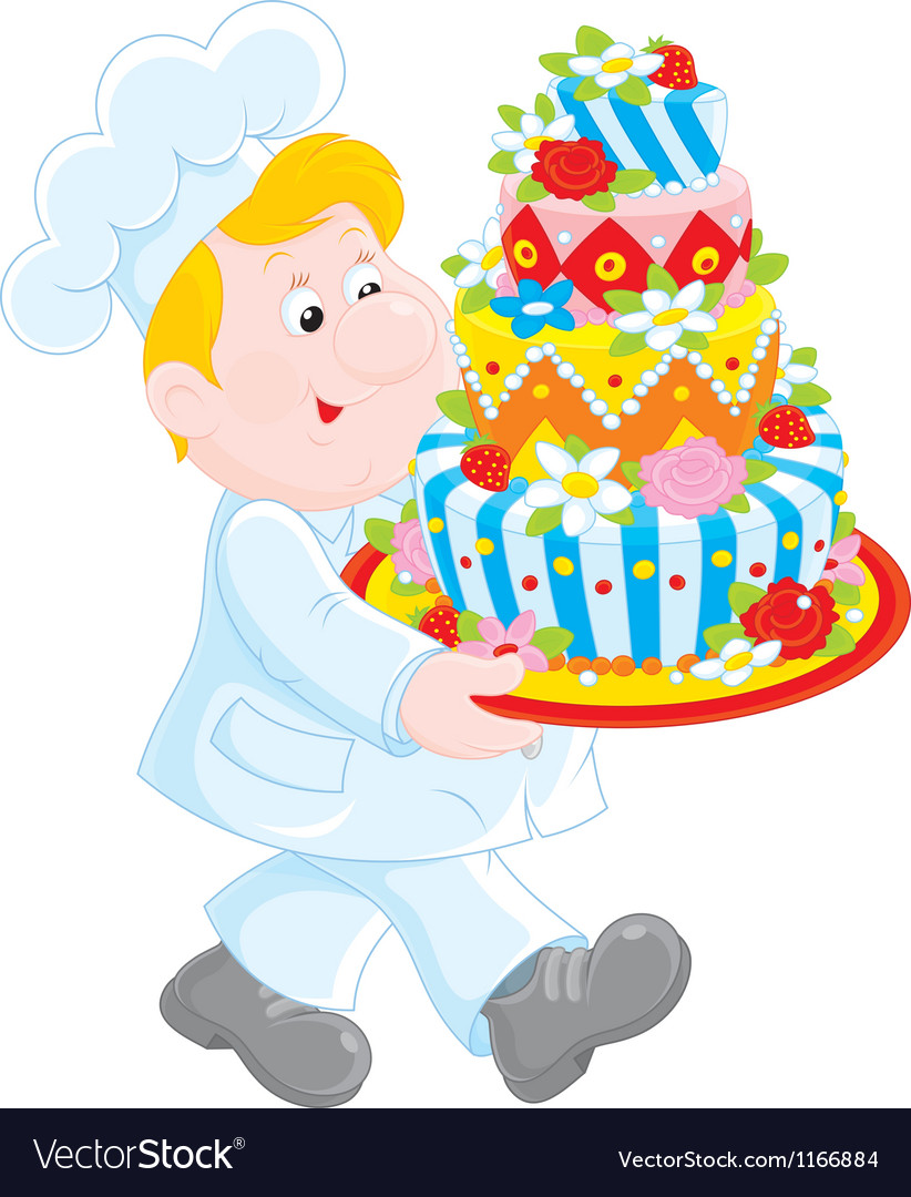 Pastry cook with a cake vector