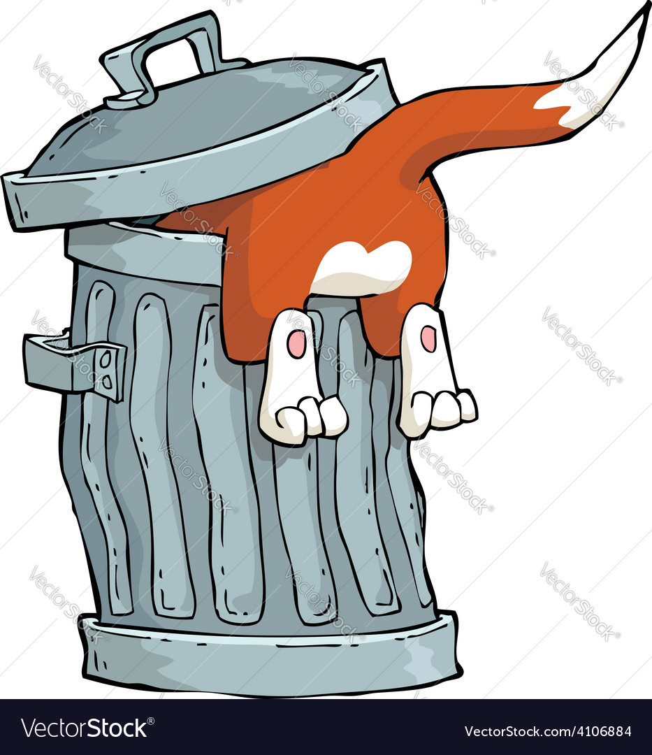 Red cat in a trash can vector | Price: 3 Credit (USD $3)