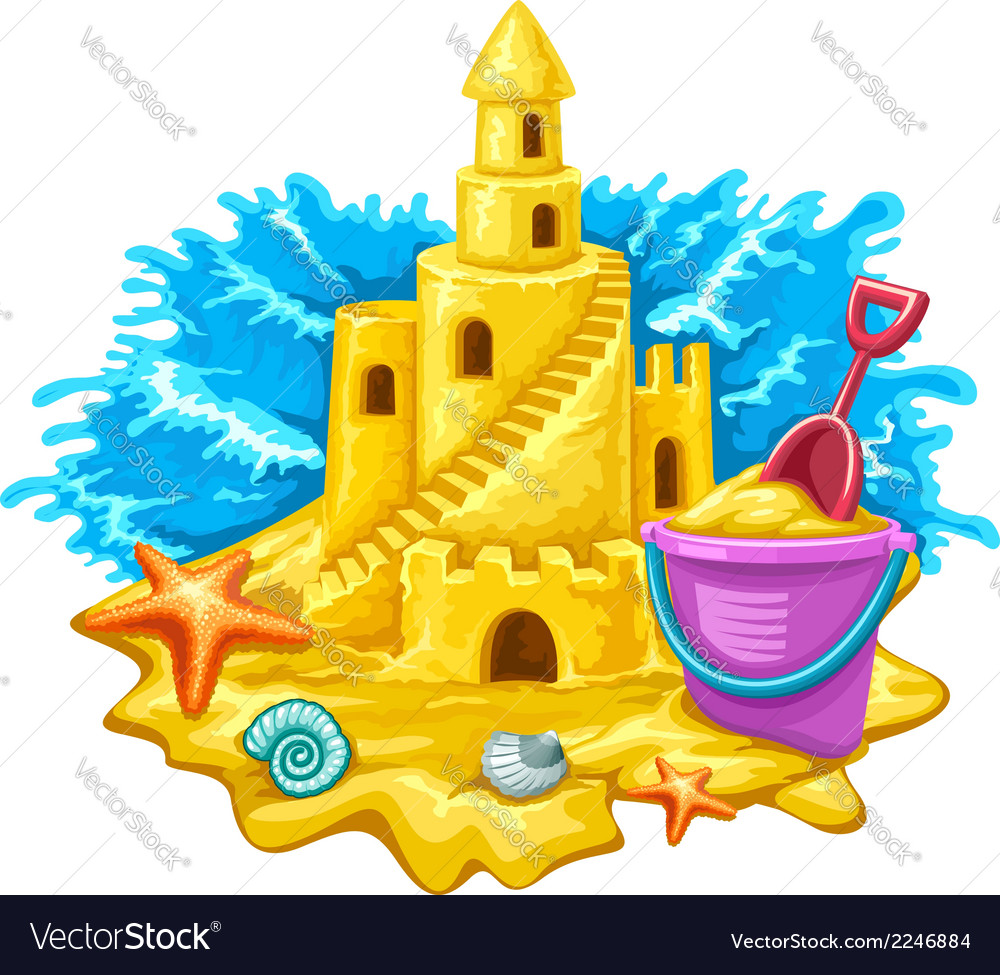 Sand castle with childs toys vector | Price: 1 Credit (USD $1)