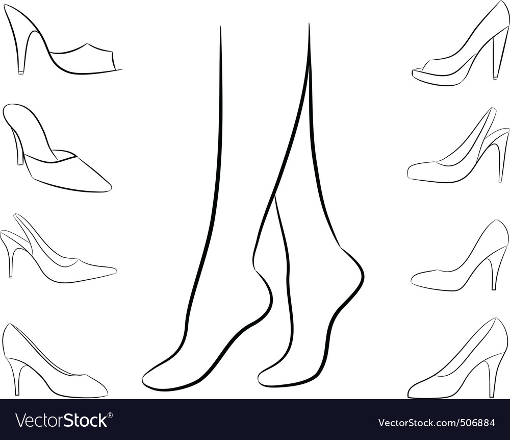 silhouette of feet and shoes vector | Price: 1 Credit (USD $1)