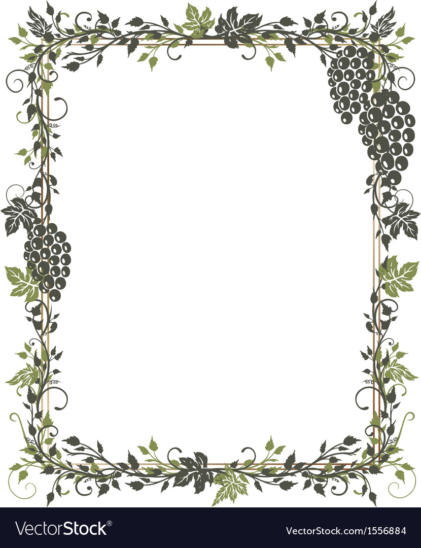 Vine leaves grapes frame vector | Price: 1 Credit (USD $1)