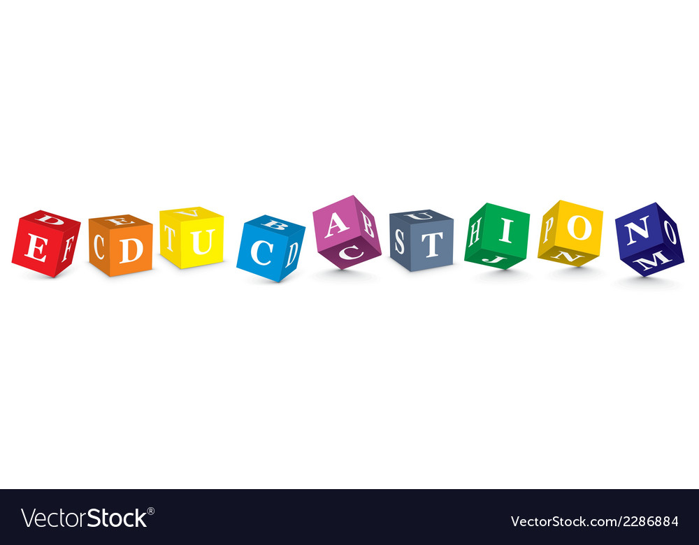 Word education written with alphabet blocks vector | Price: 1 Credit (USD $1)