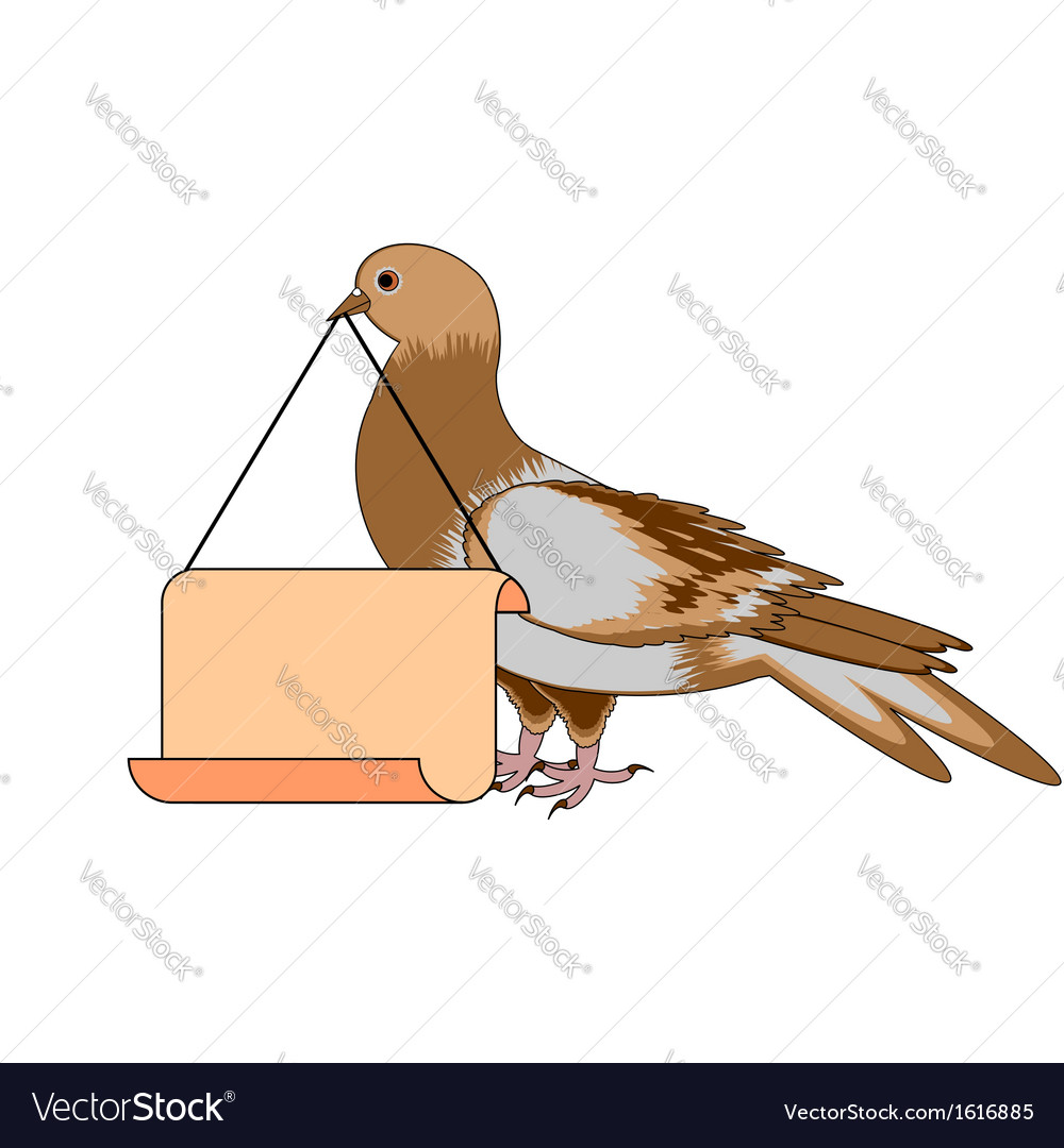A pigeon holding a big blank paper in his beak vector | Price: 1 Credit (USD $1)