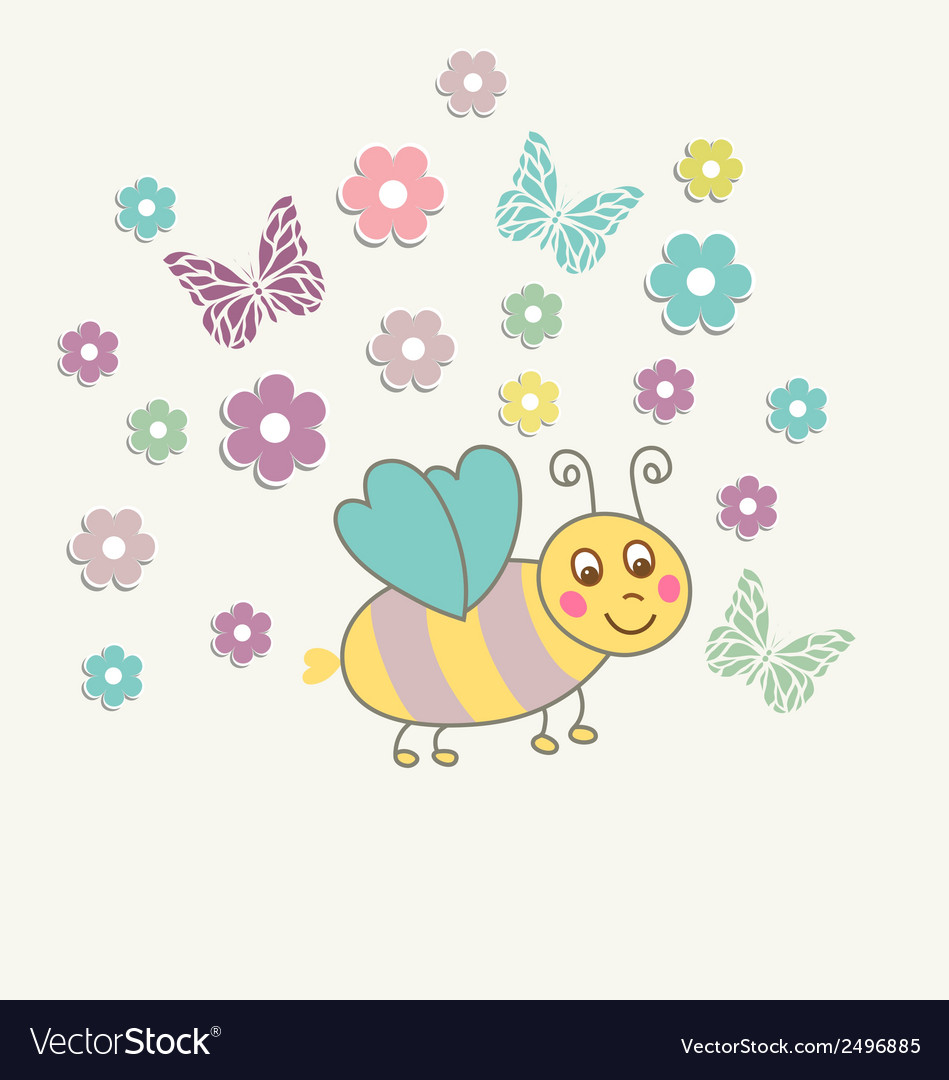 Beautiful baby vintage greeting card vector | Price: 1 Credit (USD $1)