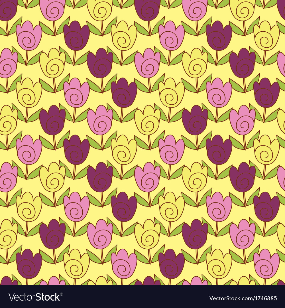 Cute tulips pattern vector | Price: 1 Credit (USD $1)