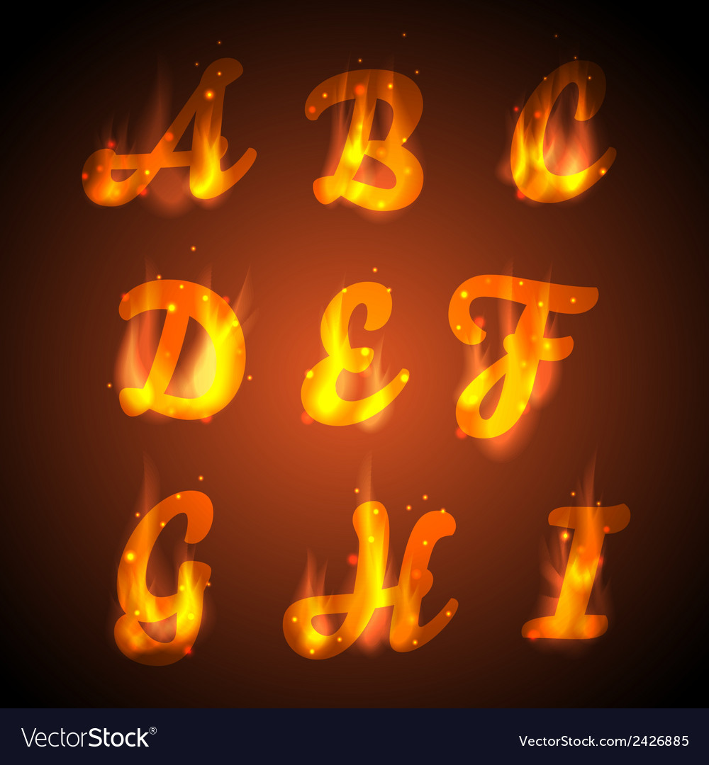 Fire alphabet vector | Price: 1 Credit (USD $1)