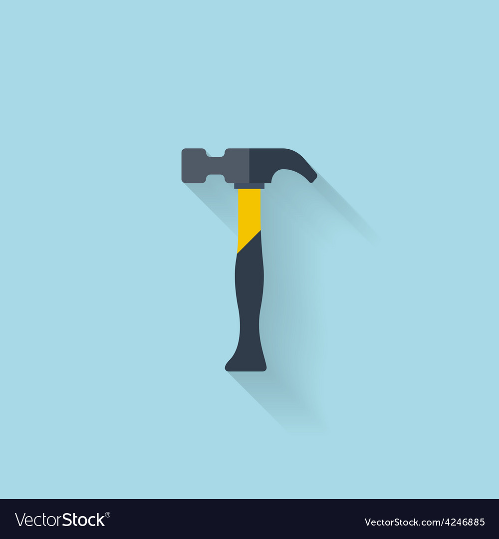 Flat web icon hammer vector | Price: 1 Credit (USD $1)